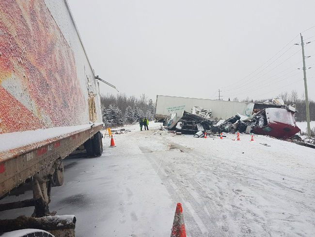 One person died in this collision involving a northbound tractor-trailer and a southbound flatbed, five-ton truck earlier this month on Highway 11, north of Hwy 562, in Hilliard Township, just south of Earlton. OPP  Photo