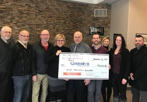 Presenting their cheque to members of the Revitalization Committee are (L-R holding cheque) Laura Herman, Todd Stanbury, Donny Rivers, Erin Wilson and Deb Graham. (Contributed photo)