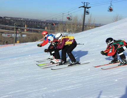 Four skiers take to the course at the same time in events like last weekend's Sunridge Ski Cross Challenge. Photo courtesy Tim Gaines