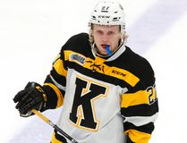 Kingston Frontenacs' Mitchell Byrne in action against Peterborough Petes during second-period OHL action on Jan. 18, 2018, at the Memorial Centre in Peterborough. CLIFFORD SKARSTEDT/Postmedia Network