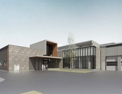 A rendering of the emergency room entrance for the proposed Markdale hospital. (SUPPLIED BY GBHS)