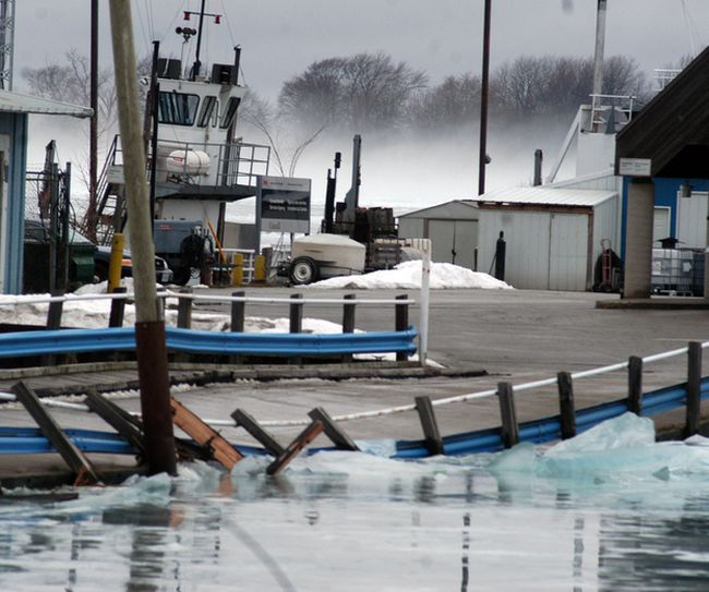 The north side of the causeway road leading to the Bluewater Ferry at Sombra was damaged by ice on Jan. 11, causing the ferry service to be closed indefinitely. There's a remote possibility the ferry could be operating by mid-March, but with the Walpole Island ferry closed because of ice, travel writer Bob Boughner says a huge transportation gap along the lower St. Clair River has been revealed. He recalls that decades ago there was talk of another bridge along the river, closer to Walpole Island. (David Gough/Postmedia Network)