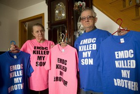 Janice and Roger Pigeau, whose son James Pigeau died in EMDC of a drug overdose, hope other families do not have to suffer like their family has suffered.  (MIKE HENSEN, The London Free Press)