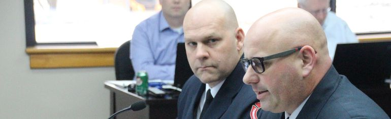 <p>Fire Chief Pierre Voisine and his deputy, Bruce Donig presented the fire department's budget to the budget steering committee on Friday January 19, 2018 in Cornwall, Ont. </p><p> Alan S. Hale/Cornwall Standard-Freeholder/Postmedia Network