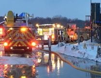 <p>This photo from D. Comins and G. Manson shows the Hogansburg-Akwesasne fire vehicles at the A'nowara'kowa Arena on Friday, Jan. 19, 2018.</p><p> Handout/Cornwall Standard-Freeholder/Postmedia Network