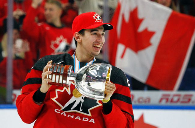 Canada forward Jordan Kyrou of the Sarnia Sting celebrates a 3-1 victory over Sweden in the gold-medal game at the world junior hockey championship Friday, Jan. 5, 2018, in Buffalo, N.Y. (JEFFREY T. BARNES/The Associated Press)