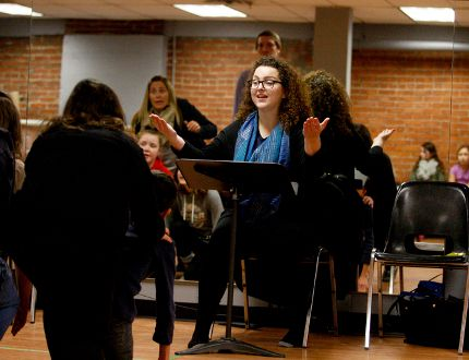 Director Stephanie Hutton VanderBaaren guides the cast of the Brockville Operatic Society's Willy Wonka through a rehearsal at the Brockville Arts Centre on Tuesday, Jan. 16, 2018 in Brockville, Ont. Ronald Zajac/Brockville Recorder and Times