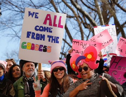 People gather prior to the second annual National Women's March in New York City. AFP PHOTO / Kena Betancur