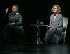 Tara Rosling, right, plays Alexander Graham Bell's deaf wife, Mabel Gardiner Hubbard, while Catherine Joell MacKinnon plays Bell's mother, Eliza Bell, also deaf, in Silence at the Grand Theatre. (CLAUS ANDERSEN/VIA THE CANADIAN PRESS)
