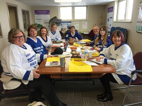 Seated at the table (L-R): Anne Marie Thompson (YMCA), Jen Yule (AMGH), Katey Potter (Ben Lobb's staff member), Jay McFarlan (Gateway), Brenda Grant (Gateway), Dan Stringer (Gateway), Marina Glanville (Gateway) and Gwen Devereaux (AMGH and Gateway).  (Contributed photo)