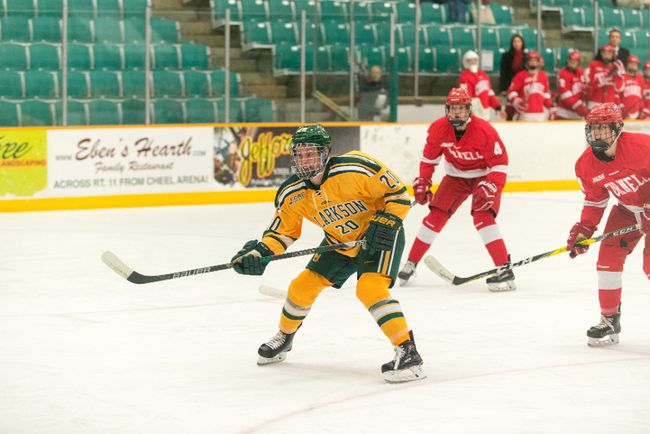 Kristy Pidgeon, of Ingleside, looks for a pass out front, in a Clarkson Golden Knights NCAA Division I game earlier this year in Potsdam, N.Y., against Cornell.