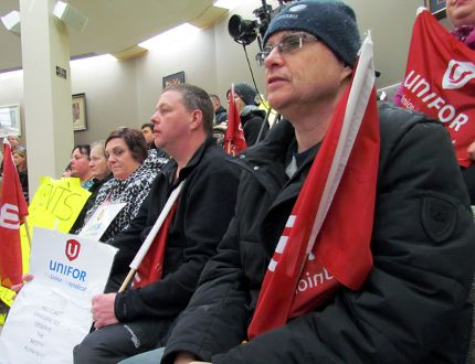 Sault Ste. Marie paramedics, Unifor Local 1359 members and supporters, attend city council's Monday meeting. Earlier, they picketed both Civic Centre entrances at Foster Drive. JEFFREY OUGLER/SAULT STAR