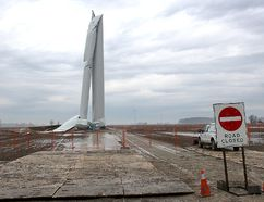 Heavy rain left the site of a wind turbine tower collapse on Sixteenth Line in Raleigh Township, located in Chatham-Kent, Ont. (Ellwood Shreve/Chatham Daily News/Postmedia Network file photo)