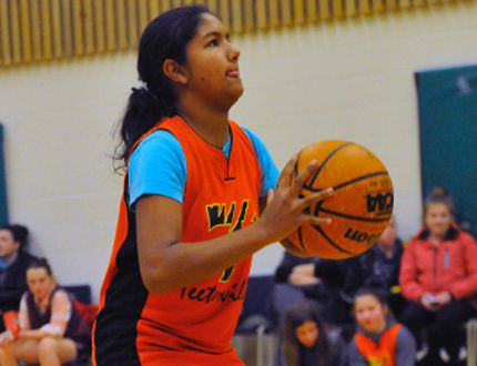 Mckayla Mungal of Teeterville Public School takes part in the Delhi-La Salette Knights of Columbus Council Free Throw Championship at St. Frances school Jan 17. Mungal won the 12-year-old girls division and will move on to the district competition Feb. 10 in Langton. JACOB ROBINSON/Simcoe Reformer