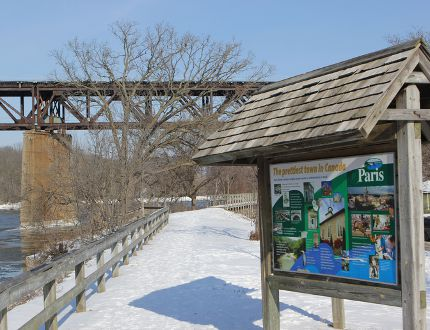 A section of the Grand Valley Trail through Paris along Willow Street is illustrative of the new Brant County Trail Master Plan, which seeks to develop an integrated trail system across the county, linking existing trails with new ones to come. (Vincent Ball/The Expositor)