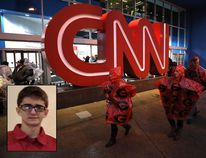 The CNN Center is seen in Atlanta on Jan. 8, 2018. Inset, Brandon Griesemer from Facebook. (Christian Petersen / Getty Images)