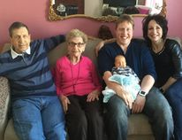 Antoine Boisvenue, left, Elizabeth Jokinen, Ryan Crouch, Jace Crouch and Debbie Crouch got together for this family photo featuring five generations.