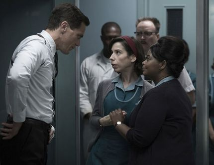 """This image released by Fox Searchlight Pictures shows Michael Shannon, from left, Sally Hawkins and Octavia Spencer in a scene from the film, """"The Shape of Water."""" Guillermo del Toro's Cold War fantasy tale will vie for the most nominations for the 90th annual Academy Awards. (Fox Searchlight Pictures via AP) ORG XMIT: NYET503Kerry Hayes / AP"""