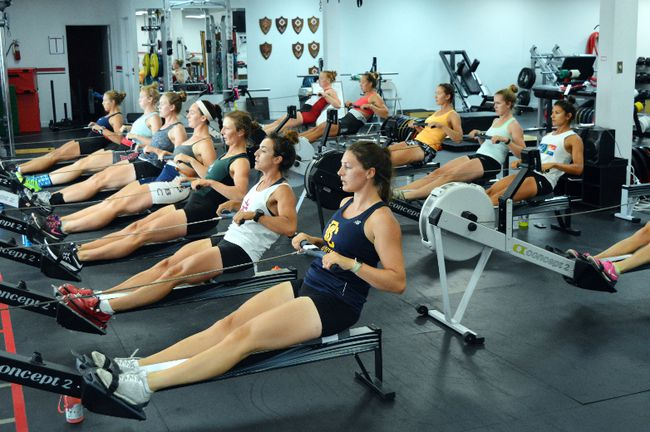 Women's under-23 team members work out on ergometers at a Rowing Canada national training centre in London, Ont. (PHOTO COURTESTY ROWING CANADA)