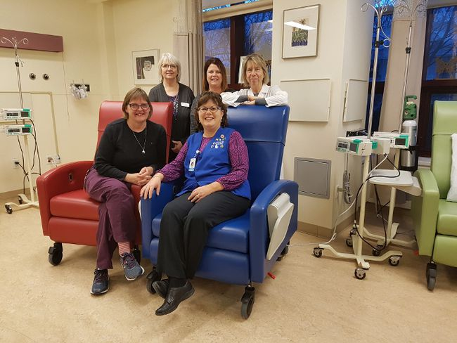 Six state-of-the-art chairs were purchased for the chemotherapy unit at the St. Thomas Elgin General Hospital through donations to the STEGH Foundation and The Mike Condie Foundation. Front, Janice Purcell, left, and Sue Bandeen. Back, Sandra Fish, left, Sheri Smith and Dr. Paula Donahue. (Laura Broadley/Times-Journal)