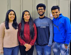 A group of almost 40 international students have enrolled at Fanshawe College's Simcoe campus this semester. More than 20 of the students are still searching for long-term accommodations. Among those new to the college are, from left, Guntas Dhillon, Anupama Takkar, Ananthakrishnan Sadanandan and Bibin Thankachan. JACOB ROBINSON/Simcoe Reformer
