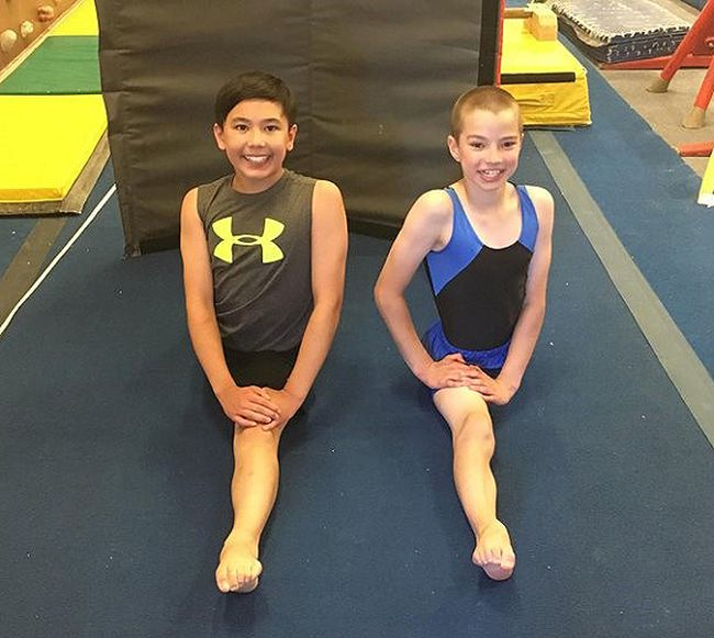 Jack Mah, left, and  Jo-zef Mathieu represented Gymtrix well at the  Gymnastics Ontario men's second qualifying competition in Kitchener, ON on the weekend. Photo Supplied