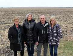 Several wind turbines reaching 642 feet into the sky are planned to be erected near the Wallaceburg-area home of Dan and Diana Donkers, pictured on right. But concerned citizens, including Bonnie Rowe, left, of the Dutton Dunwich Opponents of Wind Turbines, and Violet Towell, with Wallaceburg Area Wind Concerns, revealed on Thursday that several wind developers are not being required to adhere to the newest noise emission guidelines. Ellwood Shreve/Postmedia Network