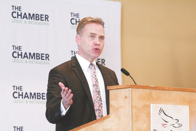 The Leduc Regional Chamber of Commerce hosted their monthly luncheon at the RedTail Landing Golf Club on Friday, Jan. 12. The meeting featured a presentation from Todd Hirsch, the chief economist at ATB Financial.