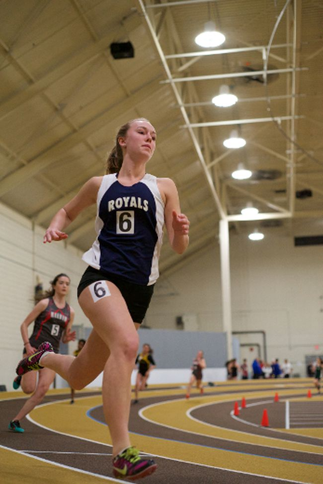 Lord Selkirk Royals athlete Kaitlin Whitelam competes at the High School Series at the James Daly Fieldhouse at the University of Manitoba Jan. 22. (Submitted Photo by Matt Pearson)