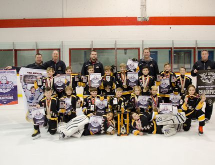 The Sarnia Sting Minor Atom MD team – a group of nine-year-old hockey players – has won all five tournaments it has competed in this season in Canada and the U.S. Front row (left to right): Julius Sinopole, Chase DeHaan. Second row (left to right): Duncan Smith, Casey Guerette, Harrison McEachren, Fergus Turnbull, Mason Guerette, Max Foster, Sam Dezort. Third row (left to right): Luca Andali, Jackson Campbell, Luke Anjema, Griffin Kerwin, Sullivan Toenders, Cameron DeSena, Brady Nesbitt, Brody Hyde. Back row (coaches left to right): Justin Turnbull, Rick Anjema, Head Coach Clint Campbell, Jay Toenders, Ian McEachren. Handout/Sarnia This Week