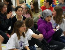 Brooklyn Hutton reacts to the news her father Brad will shave his head at the Sullivan Community School on Friday. The Sullivan Stingers Community raised $600 for schoolmate Brookyln Hutton, and the Hutton family, as she battles a rare and aggressive form of cancer. Since Brooklyn was diagnosed last year, the Sullivan Community School and surrounding neighbours have held a number of community fundraisers.(Greg Cowan/The Sun Times/The Postmedia Network)