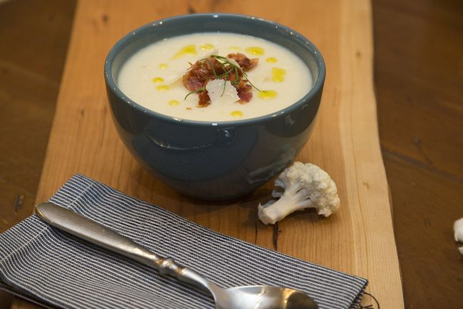 Cauliflower Soup with Parmesan (Food Styling by Christie Pollard, Photo by DEREK RUTTAN, The London Free Press)