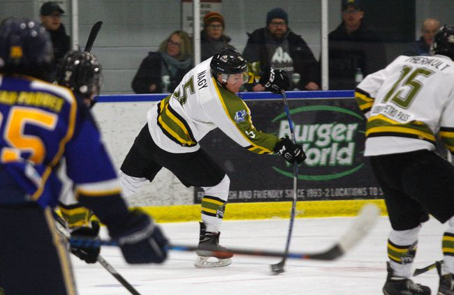 Powassan Voodoos captain Eric Nagy (5) snipes his first goal of the season against the Kirkland Lake Gold Miners at the Sportsplex, Friday. Nagy's marker tied the game 1-1 in the first period and the Voodoos added four unanswered goals in a 5-1 win. The NOJHL-leading Voodoos host the Hearst Lumberkings tonight with a 7 p.m. puck drop and then play the visiting Cochrane Crunch Monday. Dave Dale / The Nugget