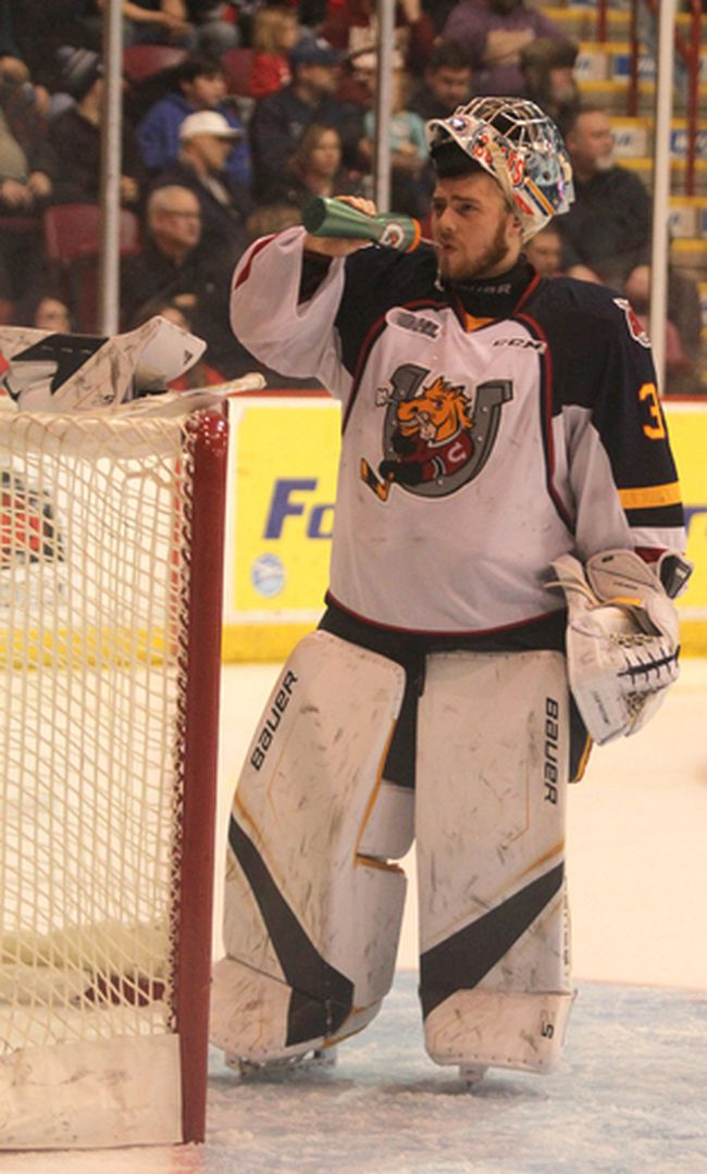 Barrie Colts goalie Leo Lazarev takes a drink during a break in third-period Ontario Hockey League against Soo Greyhounds at Essar Centre in Sault Ste. Marie, Ont., on Saturday, Jan. 27, 2018. (BRIAN KELLY/THE SAULT STAR/POSTMEDIA NETWORK)