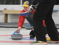 Skip Jon Beuk gets ready to release a shot during a semifinal match at the 85th annual Whig-Standard men's bonspiel at the Royal Kingston Curling Club in Kingston on Saturday, Jan. 27, 2018. Beuk, of the Cataraqui Golf and Country Club, defeated Joe Waller 10-4 in the final to capture the title. Steph Crosier/The Whig-Standard/Postmedia Network