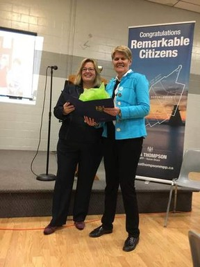 On the right, Wendy Hutton hailing from Seaforth accepts the Remarkable Citizens Award from Huron-BruceMPP Lisa Thompson Jan. 25 at the Teeswater Community Complex. (Courtesy of Facebook)