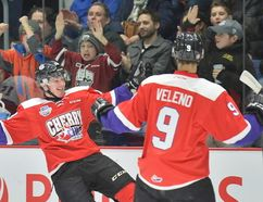 Aidan Dudas celebrates his second goal with Joseph Velano at the Top Prospects game on January 25. Dudas, an injury replacement in the game, scored twice and garnered a lot of the attention post-game for his performance. Terry Wilson/CHL Images.