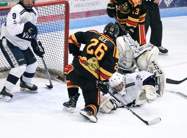 Woodstock Navy Vets goalie Mike Harrison sprawls to make a save in their game against the Paris Mounties Woodstock, Ont. on Friday January 26, 2018. Woodstock won 7-1 and will play the Norwich Merchants in the first round of the playoffs. (Scott Knox/Special to the Sentinel-Review)