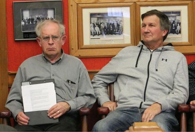 BRUCE BELL/THE INTELLIGENCER Prince Edward County Federation of Agriculture, John Thompson (left) and local farmer Lloyd Crowe spoke to Prince Edward County's committee of the whole last Thursday asking for a reduction in the farm tax ratio.