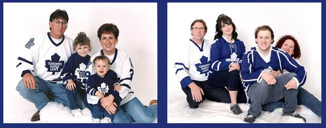 Photos courtesy RoseLe Studio The Mitchell family — Rob, Marie, Mac and Ali — is featured in a 90-second commercial presented by Peoples Jewellers and the Toronto Maple Leafs. The photo at left was a retake of the photo of the family taken in 1996.Photos courtesy RoseLe Studio