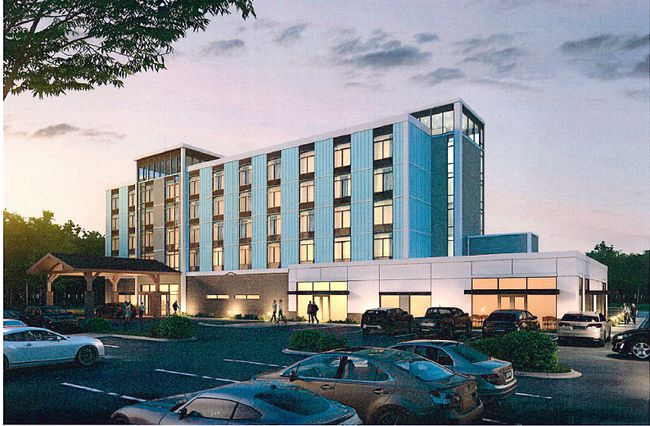 This is an artist's conception of a six-storey hotel-banquet centre that has been proposed for the Dover Coast subdivision on the east side of Port Dover. Dover Coast graphic
