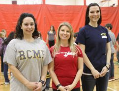 (From left) RCMP Detachment Services Assistant Cristina Polsinelli, Victim Services Volunteer Katie Cooper and Victim Services Coordinator Heather Koroluk. Photo Marie Conboy.