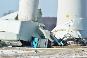 The wreckage at the bottom of a wind turbine which buckled near its mid-point on 16 Line near Drake Road in south Chatham-Kent is shown Jan. 19, 2018 (Tom Morrison/Postmedia Network)