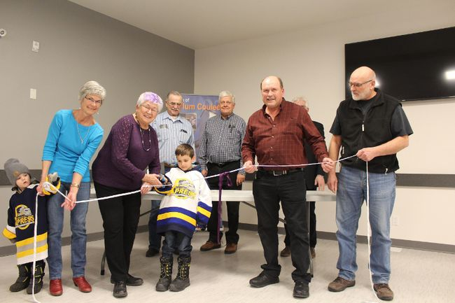 The C.J. Dyck Arena was officially opened with this ribbon cutting in the redesigned community centre on Jan. 26. (GREG VANDERMEULEN/Winkler Times)
