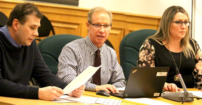 Joe Luxton, Michael McCabe and Jennifer Macintosh make a presentation to Algoma District School Board trustees on Tuesday.
