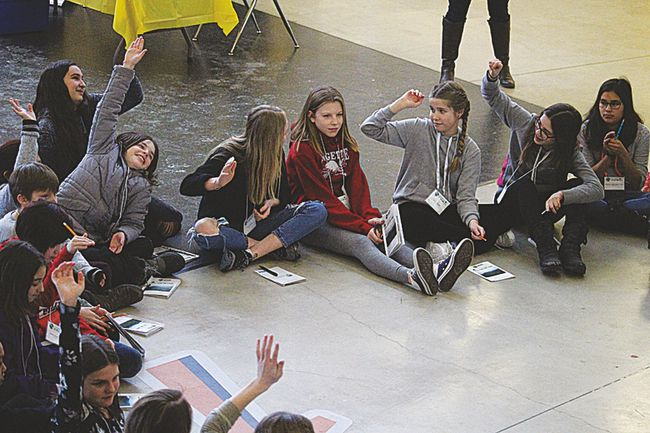 Students from across the Division gathered at Stride Place in Portage la Prairie Wednesday as part of a Manitoba Council for International Cooperation (MCIC) conference. Pictured, students from Ecole Arthur Meighen School, North Memorial School and Oakville School participate in leadership activities.