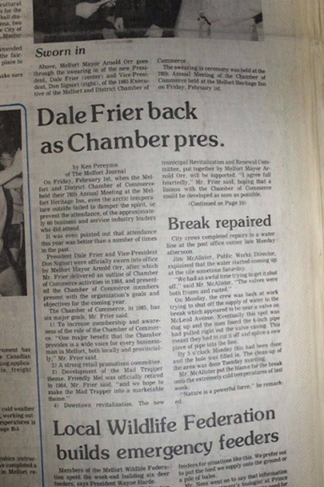 This week's Throwback Thursday takes us back to 1985 and the return of Dale Frier as president of the Melfort and District Chamber of Commerce.At the organization's 78th Annual General Meeting, President Dale Frier and Vice President Don Signori were sworn in by Melfort Arnold Orr. Frier went on to outline the chambers five major goals for 1985 and