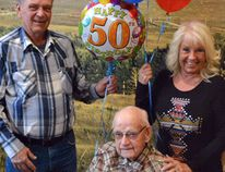 After the surprise of 175 people gathered to celebrate his 100th birthday in Madden, Howard Farquharson had a more low key centenarian at Cochrane Bethany joined by his children Don and Karen.