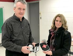 Jim Keane, principal at Lambton Kent Composite School in Dresden, Ont., and Rhonda Lystra, principal of North Lambton Secondary School, in Forest, Ont., were among high school administrators who participated in a training session on how to use naloxone kits on Thursday, February 1, 2018 at Lambton Centra Collegiate & Vocational School in Petrolia, Ont. The Lambton Kent District School Board is following the lead of several over Ontario school to boards to have the naloxone kits in schools and staff trained to use them if a student has an opioid overdose. (Handout/Chatham Daily News)