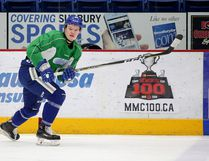 Sudbury Wolves forward Macauley Carson runs through a drill during team practice in Sudbury, Ont. on Thursday February 1, 2018. Gino Donato/Sudbury Star/Postmedia Network